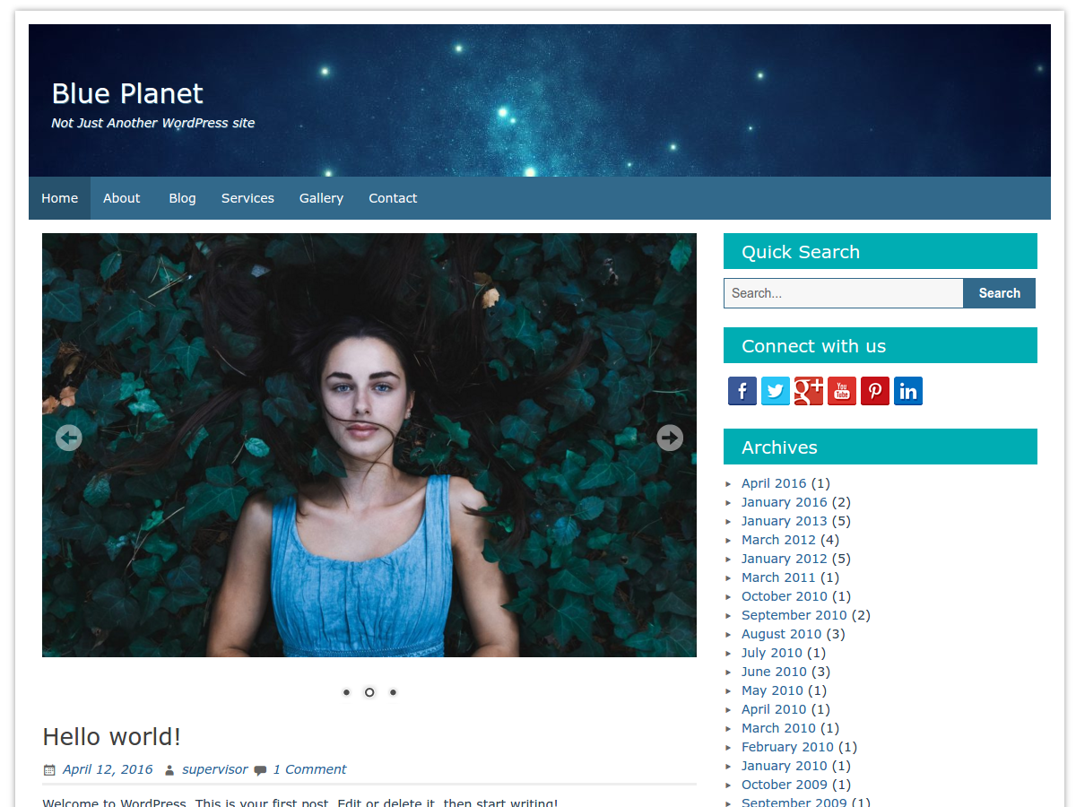 Blue Planet :  WordPress Theme [FREE]