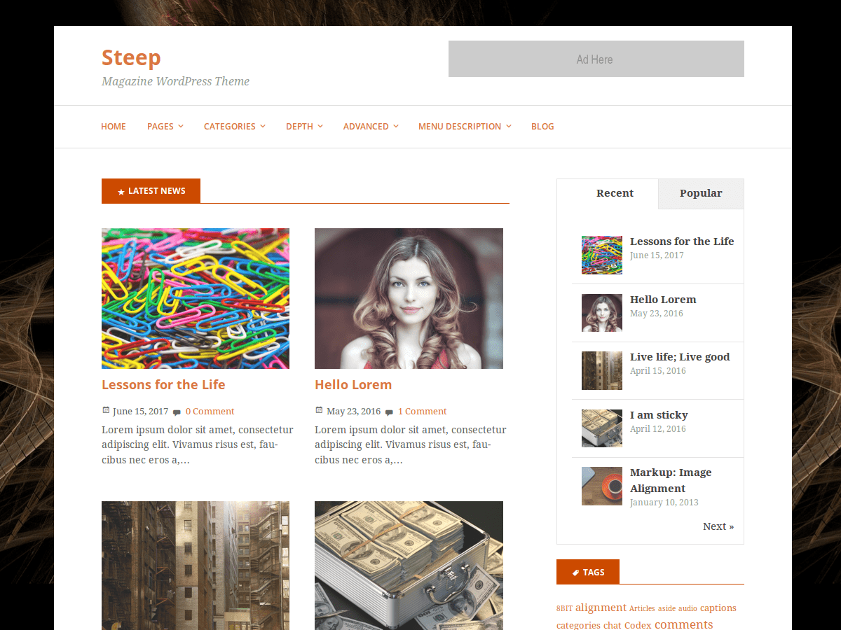 Steep:  Free WordPress Theme